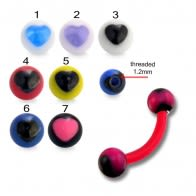 Red UV Eyebrow Banana Bar Ring with Black UV Heart Print Balls