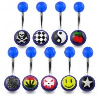 316L Belly Banana With UV Smiles Logo Balls Body Jewelry