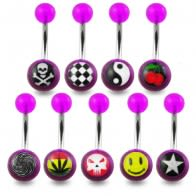316L Mix SS Belly Banana Ring With UV Logo Balls