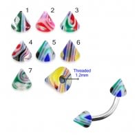 EyeBrow Banana With UV Fancy Colorful Glossy Marble Cone