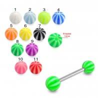 SS Tongue Barbell with Beach Ball UV Acrylic Rings
