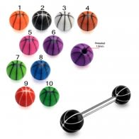 SS Tongue Barbell with Black UV Single Strip Balls Body Jewelry