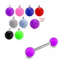 SS Tongue Barbell with Purple UV Ball Body Jewelry