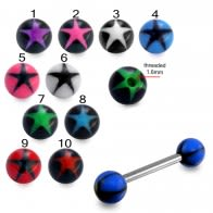 SS Tongue Barbell with Blue UV Black Star Print Balls Body Jewelry