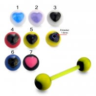 UV Tongue Barbell with UV Fancy Heart Printed Balls