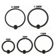 Black Steel PVD cirúrxica flexible torcido BCR Piercing