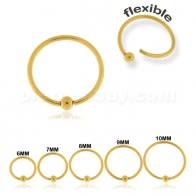 Gold PVD Surgical Steel Flexible BCR Piercing