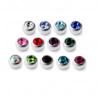 Titanium G23 Flat Jeweled 16G Stone Ball Accessories