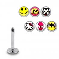 SS Labret with 4mm Batman Logo Ball