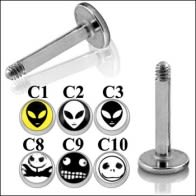 SS Labret with 4mm Alien Logo Ball