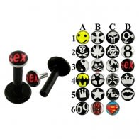 Black Bio Madona Labret With Logo Tops