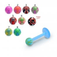 UV Labret With UV Acrylic Fancy Checkered Balls