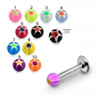 SS Labret Mix Color Threaded UV Fancy Star Print Acrylic Ball