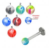 Mix Color Threaded SS Labret UV Mix Multi Design Fancy Colorful Piercing Balls