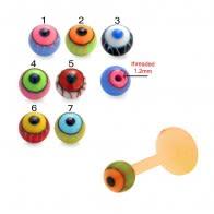 UV Labret With UV Fancy Eye Balls