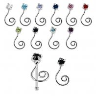 925 Sterling Silver Jeweled Clef Swirl Design Nose Bone Stud in Box