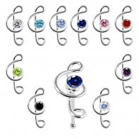 925 Sterling Silver Jeweled Clef Music Note Nose Bone Stud in Box