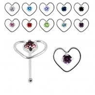 925 Sterling Silver Jeweled Heart Design Nose Bone Stud in Box