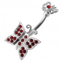 Mother and Baby Butterflies Spinal Belly Button Ring
