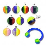 Acrylic Circular Barbells with UV Rasta Balls