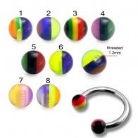 CBB Eyebrow Lip Piercing Ring With UV Rasta Balls