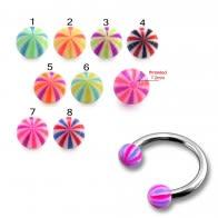 CBB Ring With 3mm UV Balls Body Jewelry