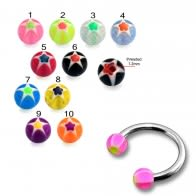 SS Circular Barbells Horseshoe Ring with Pink UV Star Print Balls