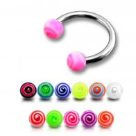SS Circular Lip Eyebrow Barbells with Pink UV Balls Ring