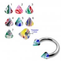 Eyebrow Piercing Ring With UV Fancy Colorful Glossy Marble Cone