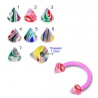 UV Circular Barbells with UV Fancy Colorful Glossy Marble Cone