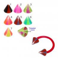 UV Circular Barbells with UV Fancy Colorful Swirl Cone