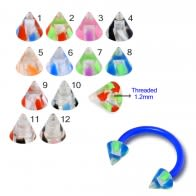 UV Circular Barbells with UV Fancy Colorful Two Tone Transperant Cone