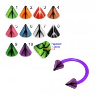 UV Circular Barbells with UV Fancy Colorful Peace Sign Cone