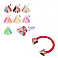 UV Circular Barbells with UV Fancy Colorful Multi Layer Triangles Cone