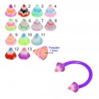 UV Circular Barbells with UV Fancy Multi Color Star Cone