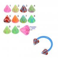 UV Circular Barbells with Multi Color UV Cones