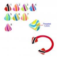 UV Circular Barbells with UV Acrylic Fancy Cones
