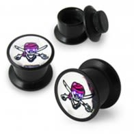 Screw Fit Ear Flesh Tunnel with Fancy Skull Logo