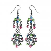 Multi Crystal Dangling Costume Earring