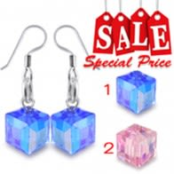 Dangling Square Crystal Beads Costume Earring