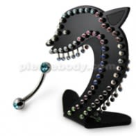 Curved barbells with Double side Jeweled Ball in a Display