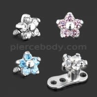 G23 Grade Titanium 5 CZ Flower Dermal Anchor Tops