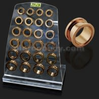 External Screw Fit Rose Gold Platted Ear Flesh Tunnel in Tray