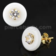 Pure White Round CERAMIC with CZ Gold Platted Sterling Silver Ear Stud
