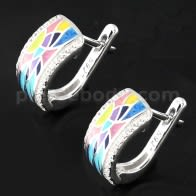 Micro jeweled CZ Rhodium Platted Sterling Silver Colorful Enamel Earring