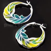 Micro jeweled CZ Colorful Enamal Leaf Sterling Silver Ear Hoop Ring