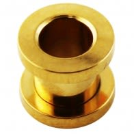 Gold Anodized Screw Fit Ear Flesh Tunnel