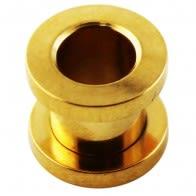Gold Anodized Screw Fit Ear Flesh Tunnel