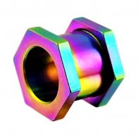 Rainbow Hexagon Ear Flesh Tunnel