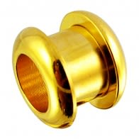 Gold Anodised Screw Fit Ear Flesh Tunnel